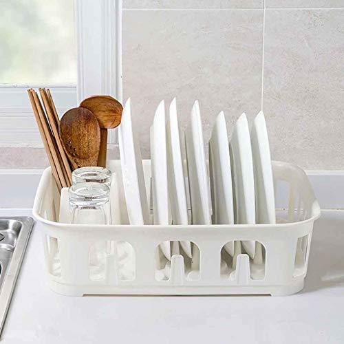 4-in-1 Abtropfhalter Abtropfgestell Geschirrständer Geschirrkorb mit Besteckkorb und Abtropfschale für Teller und Besteck, mit Besteckkorb und Haken von Gläsern, Besteck, und Tellern (Weiß)
