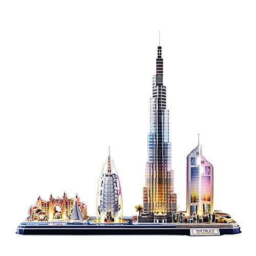 World Brands - Dubai Cityline Led, Puzzle 3d Niños, Maquetas Para Montar Adultos, Rompecabezas 3d, Kit de Construcción luminoso, Regalos Divertidos, Puzzles 3d