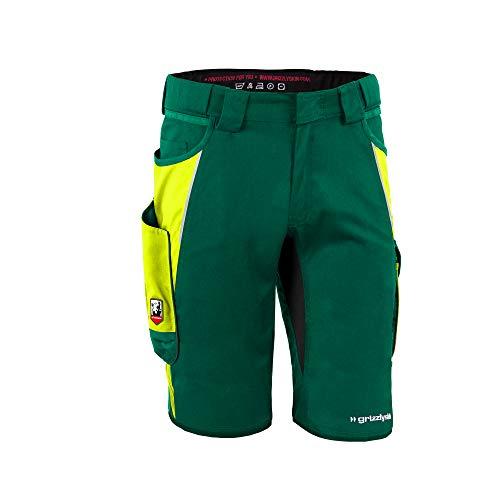 Grizzlyskin Arbeitsshorts Iron Grün/Warngelb N50 - Unisex Workwear Kurze Arbeitshose für Männer und Damen