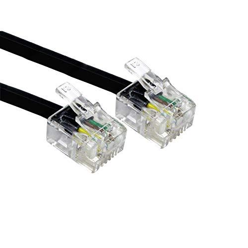 Alida Systems ® 2m ADSL Kabel - Premium Qualität/vergoldet Kontakt Pins/Hoch Geschwindigkeits Internet Breitband/Router oder Modem zu RJ11 Telefon Socket oder Microfilter/Schwarz