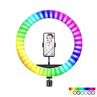 RGB LED SelfieラウンドライトUSBリングライト(電話クリップ付き)写真用照明電話写真ビデオメイクアップランプ
