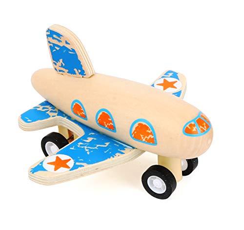 Small Foot 11146 Rückziehflitzer Flugzeug Blau aus FSC 100%-zertifiziertem Holz, gummibereifte Räder für besten Grip beim Zurückziehen Spielzeug, Mehrfarbig