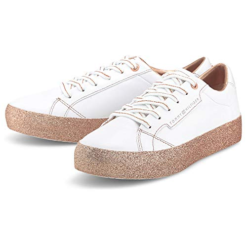 Tommy Hilfiger Damen Sneaker Glitter Foxing Dress Weiß Leder/Synthetik-Mix 36