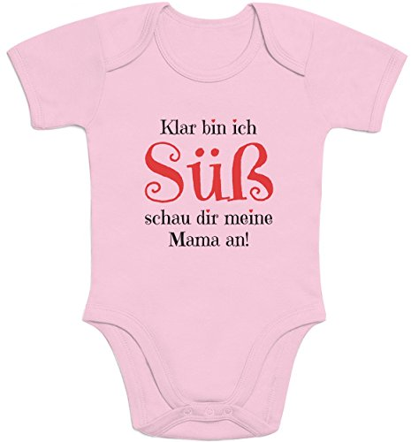 Shirtgeil Mädchen - Klar Bin ich Süß schau dir Meine Mama an Baby Body Kurzarm-Body 0-3 Monate Rosa