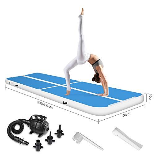 LUDOSPORT Tappetino Ginnastica Gonfiabile, 3/4M Air Track Tumbling Tappetino, con Pompa ad Aria, Adatto a Casa/Yoga/Taekwondo/Fitness/Sport/Campeggio