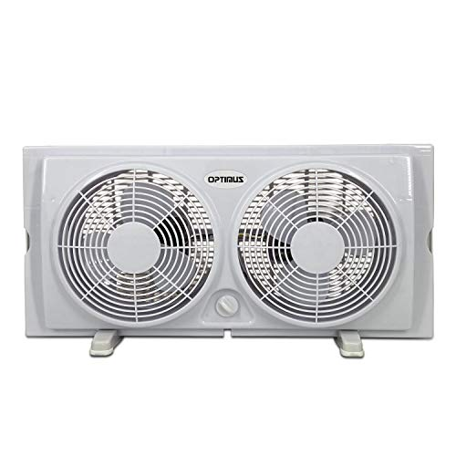 Optimus F-5280 7-Inch Twin 2-Speed Window Fan, White