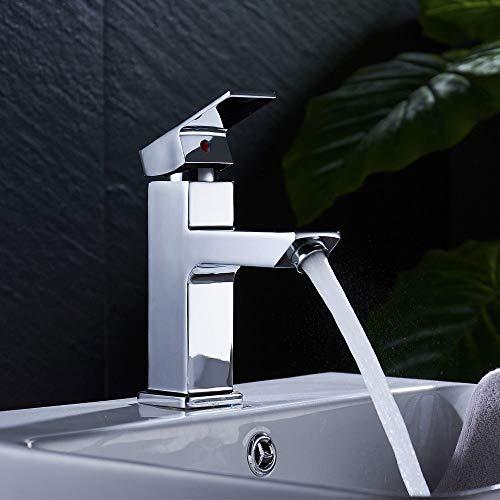 DiLiBee Waschtisch Waschbeckenarmatur Badarmatur Wasserhahn Einhebelmischer Ein Loch Waschtisch Armatur eckig Wasserhahn Bad Chrom Mischbatterie für Waschbecken