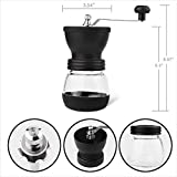 Angker Manual Coffee Grinder, Premium Adjustable Ceramic Burr Grinder, Hand Crank Mill for Coffee Bean or Spices,Delicate Household, Travel, or Camping GrinderWith Brush and a Glass Storage Tank