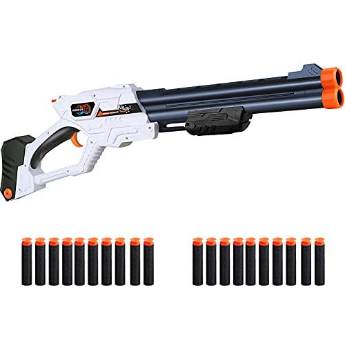 Romker Blaster Toy Gun for Nerf Gun Bullets, Double Barrel Toy Shotgun with 20 PCS Refill Foam Darts for Nerf Shotgun Rifle, Pump-Action Shotgun Gifts for Boys, Toys for 6-12 Year Old Boys