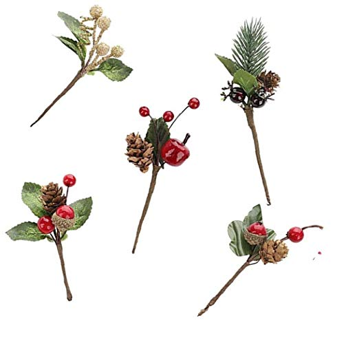 LAANCOO Bayas de Navidad Ramas de Pino Sprays Selecciones de la Baya de Fruta para Arte de la Navidad de la Guirnalda de la selección Decoración 4PCS