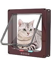 Sailnovo Puerta para Gato con Cierre magnético de 4 vías, Puerta para Mascotas para Gatos y Perros pequeños, Puerta para Gatos con túnel (Marrón, L)