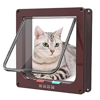 Sailnovo Chatière pour Chat Chatière magnétique avec verrou Rotatif à 4 Voies pour Chat (L: 18 x 19 x 5.5 cm, Marron)