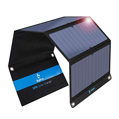 [Updated] BigBlue 3 USB Ports 28W Solar Charger(5V/4.8A Max), Foldable Portable Solar Phone Charger with SunPower Solar Panel Compatible with 11/Xs/XS Max/XR/X/8/7, iPad, Samsung Galaxy LG etc.
