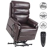 Jacky Home Lift Recliner Dual Motor Lay Flat Electric Power Chair for Elderly, Infinite Position Breathable Leather Heavy Duty Living Room Sturdy Sofa with Side Pocket (Brown)