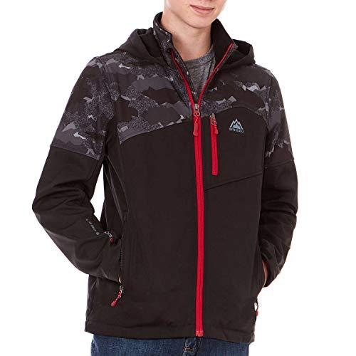 Snozu Hooded Softshell Jacket for Boys (Small / 7-8), Black/Forest Camo