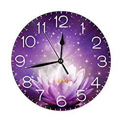 Home Decor Lotus Flowers Purple Round Wall Clock Acrylic Silent Non Ticking Decorative Clocks for Living Room Kitchen