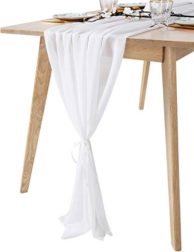 "QueenDream 27""x120"" White Classy Soft Chiffon Sheer Table Runner for Wedding Overlay Birthday Party Sweets tables Decoration"