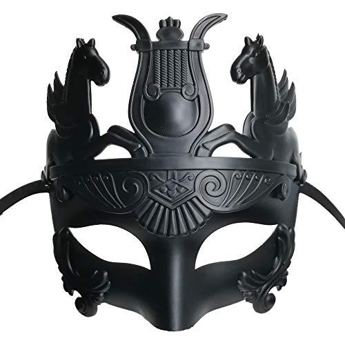 Ubauta Neue schwarze maskuline griechische und römische Soldaten-Maskerademaske für Männer venezianische Maske