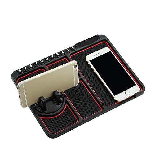 Happy Shop Car Cradle Silicone Car Phone Holder Temporary No Parking Card Number Car Phone Mat Holder Dashboard for Car On The Panel Coin Non Slip Mat Anti-Shake