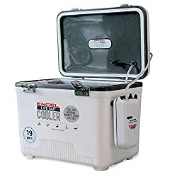 Engel live bait cooler with aerator pump.