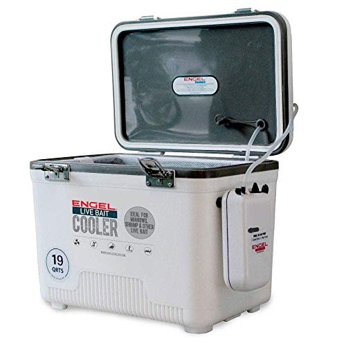 Engel 19 Quart Portable Insulated Live Bait Fishing Dry Box 32 Can Hard Airtight Cooler with Water Speed Aerator Pump and Removable Pull Net, White