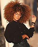 14inch Afro Bomb Curly Wig with Bangs for Black Women Fashion Ombre Brown Short Kinky Curly Wig