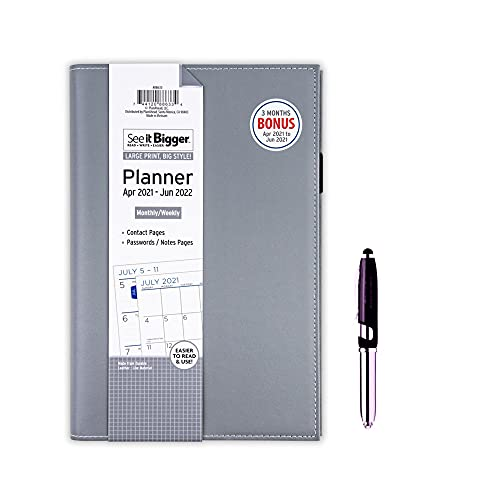 PlanAhead See IT Bigger April 2021- June 2022 Monthly/Weekly Slip-in Planner/Specialized Large Print, Size 5' x 8'