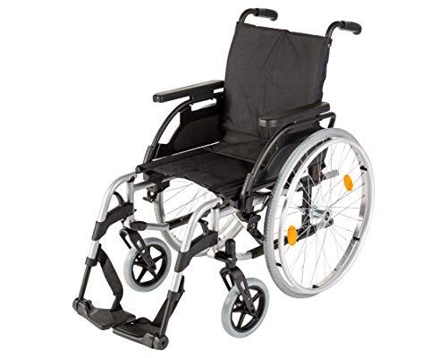 Sunrise Medical Aluminium-Rollstuhl Breezy BasiX², leicht & faltbar, verstellbare Rückenhöhe & Sitztiefe I Faltrollstuhl bis 125 kg belastbar, Klapprollstuhl in 6 Sitzbreiten, Sitzbreite: 52 cm