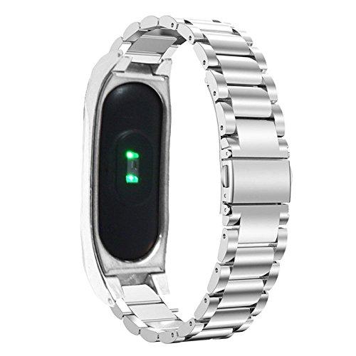PINHEN Correa de Repuesto de Acero Inoxidable para Reloj Inteligente Xiaomi Mi Band 2, con Marco de Metal (Silver)