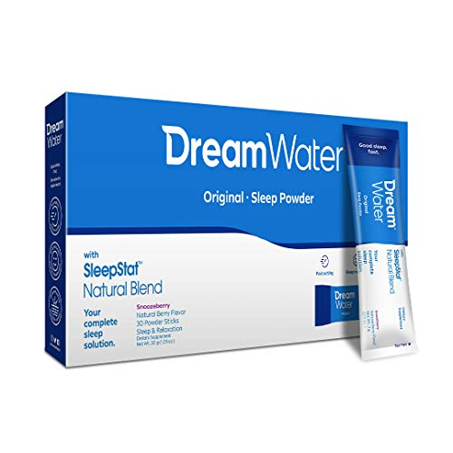 Dream Water Natural Sleep Aid, Powder; GABA, MELATONIN, 5-HTP, 2.5oz Shot, Snoozeberry, 30 Count