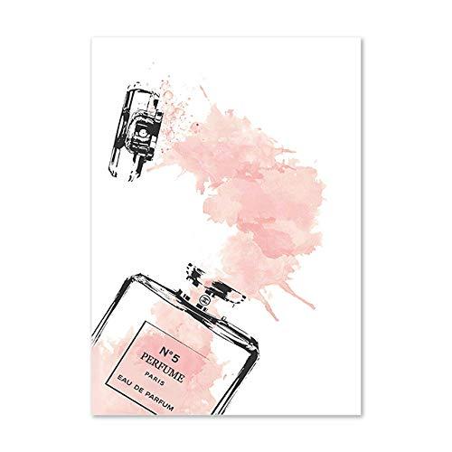 Moda Perfume Graffiti Póster Rosa Perfume Botella Minimalista Lienzo Pintura Sala Hogar Vogue Decoracion Pared Arte Rosa Perfume Poster 50x70cmx1 Sin Marco