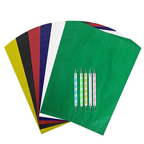 Transparentpapier mit 5 Prägestiften, Transferpapier, Kohlekopierpapier für Leinwand, Papier, Holz, Holzarbeiten, Handmalerei, 21,1 x 29,7 cm, 150 Stück
