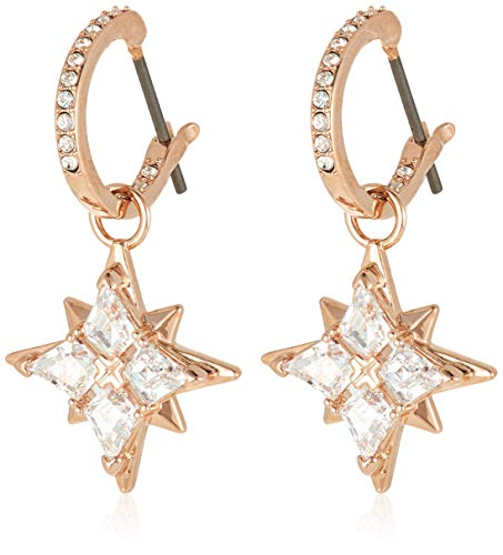 Swarovski Women's Symbolic Stud Pierced Hoop Earrings, Set of Brilliant White Swarovski Crystal Star Earrings with Rose-gold tone plating