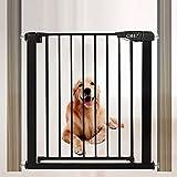 Extending Barrera de Seguridad Barrera Puertas Sin Agujeros Vallas para Perros Red de Seguridad para Mascotas Easy Close Dog Puerta(61-68cm Negro
