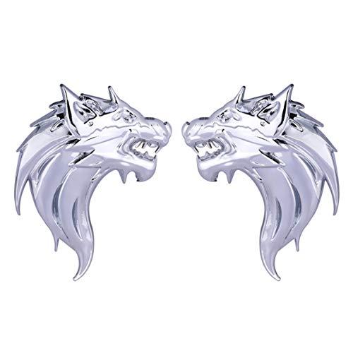 Wakauto 2pcs Car Side Stickers 3D Metal Wolf Head Car Sticker Car Decal Car Emblem Sticker for SUV Motorcycle (Silver)