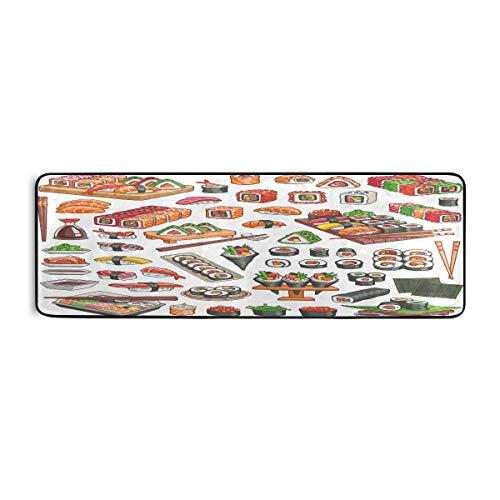 ALARGE - Felpudo antideslizante para cocina, para salón, pasillo, dormitorio, baño, entrada, interior, exterior, lavable, 2 x 6 pies