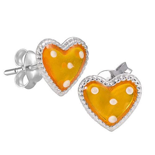 MATERIA Emaille Ohrstecker Herz gelb BAMBINO - Mädchen Kinderohrringe Silber 925 klein + Box #SO-229
