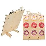 TIMESETL 2 Pcs Donut Wall Soporte para donuts de madera mesas de dulces,9 donuts Decoración de madera para casa, bodas,...