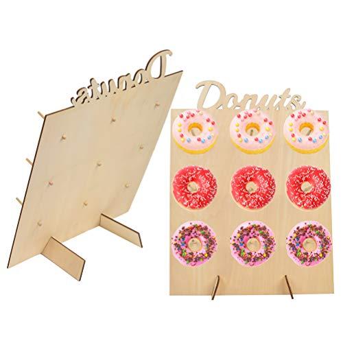 TIMESETL 2 Pcs Donut Wall Soporte para donuts de madera mesas de dulces,9 donuts Decoración de madera para casa, bodas, Party, entregas, fiestas de cumpleaños