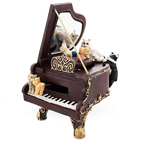 BestPysanky Cats Playing the Piano Animated Musical Figurine