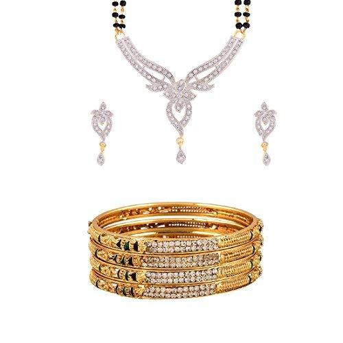 SataanReaper Presents American Diamond Mangalsutra & Wedding Kada Bangles Jewellery For Women & Girls #SR-4979