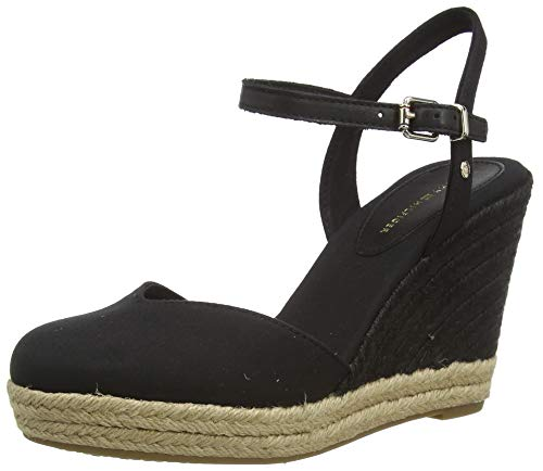 Tommy Hilfiger Damen Basic Closed Toe HIGH Wedge Peeptoe Sandalen, Schwarz (Black Bds), 39 EU