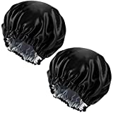 2 Stück Schlafmütze Satin, Doppelschicht Schlafhaube Damen Mädchen, Verstellbar Seide Haube Weiche Satin Kappe zum Schlafe Haarpflege Badekurort Hauptgebrauch (Schwarz & Silber)