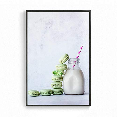 yiyiyaya Graue Leinwand Wandkunst Nordic Home Decoration Poster Essen Kaffee Wandkunst Kekse und Obst Leinwand Malerei für Wohnzimmer Dekoration Cuadros-60x90_cm_UNframed_Red