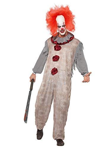 Smiffys 40325M Vintage-Clown-Kostüm, Erwachsene, Grau und Rot, M - Size 38