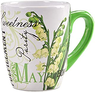 May Lily of the Valley Emerald Floral Green 12 ounce Glossy Ceramic Mug