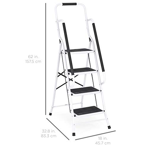 Best Choice Products 4-Step Folding Ladder w/Padded Handrails, Attachable Tool Bag
