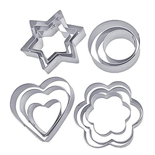 Speyang Moldes Galletas Formas, Moldes para Galletas de Acero Inoxidable, Cortadores de Repostería de Metal con Formas de Corazón, Estrella y Flor para Galletas, 12 Piezas (2)