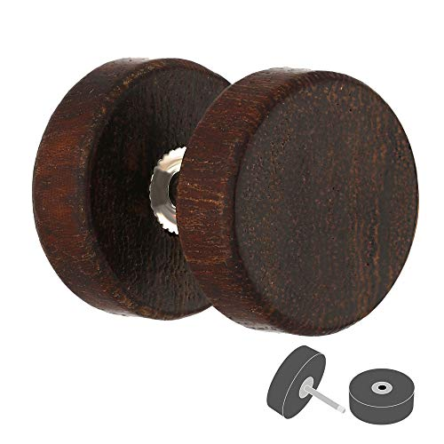 Treuheld® | Fake Plug Ohrstecker aus Holz | 1,0mm x 10mm | Dunkelbraun | Fake Tunnel - Ohrring mit Gewinde zum Schrauben | für Damen und Herren