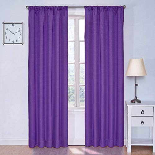 "ECLIPSE Kendall Solid Blackout Window Curtains for Bedroom (Single Panel), 42"" x 63"", Purple"